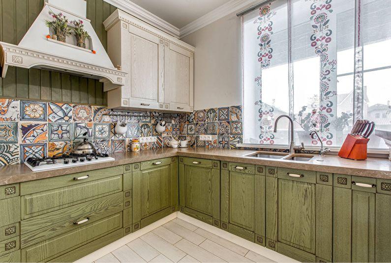 Оливковая кухня в стиле прованс - Дизайн интерьера