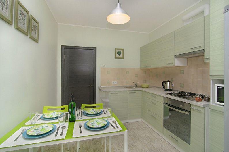 Дизайн кухни в оливковом цвете - Отделка стен