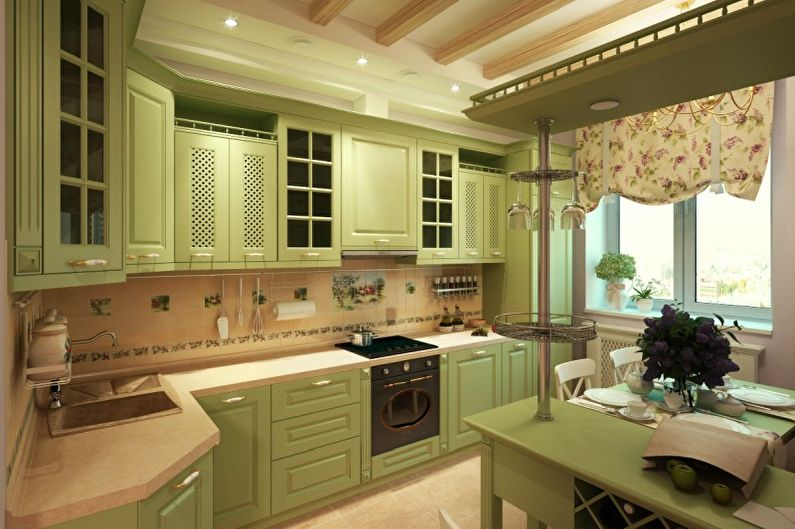 Дизайн кухни в оливковом цвете - Отделка потолка