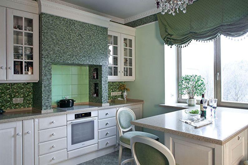 Дизайн интерьера кухни в оливковых тонах - фото