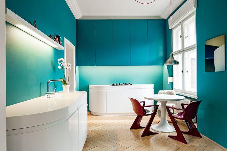 Бирюзовая кухня в стиле модерн - Дизайн интерьера