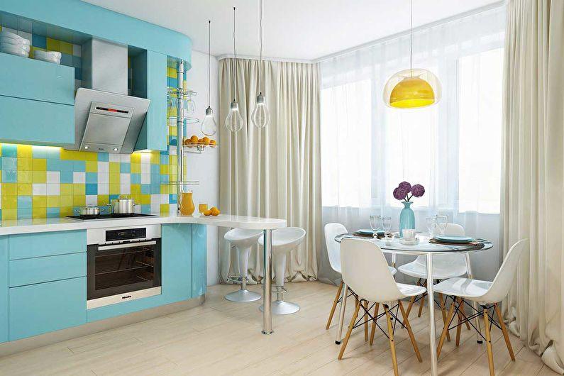 Дизайн кухни в бирюзовом цвете - Отделка стен