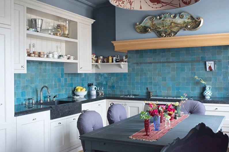Дизайн кухни в бирюзовом цвете - Фартук
