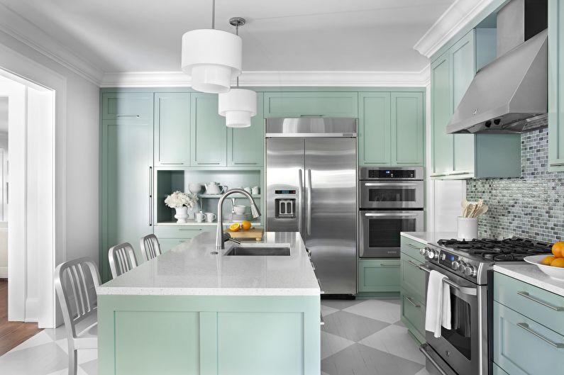 Дизайн кухни в бирюзовом цвете - Отделка потолка