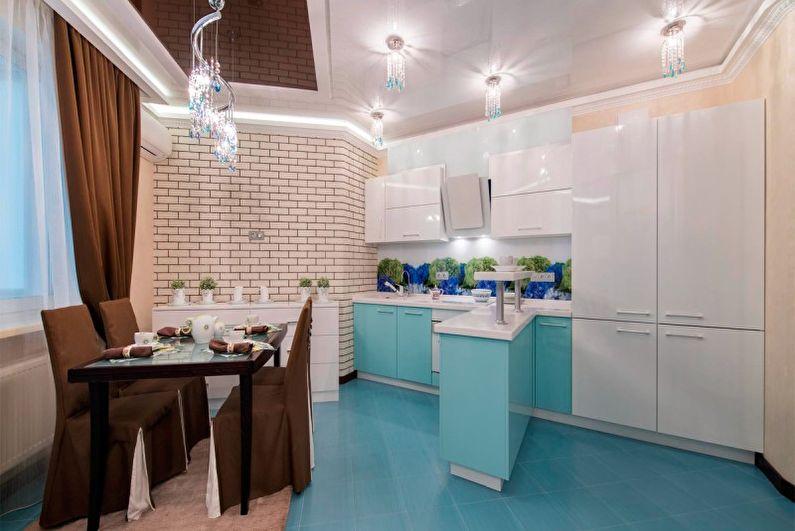Дизайн бирюзовой кухни - Освещение и кухонная техника