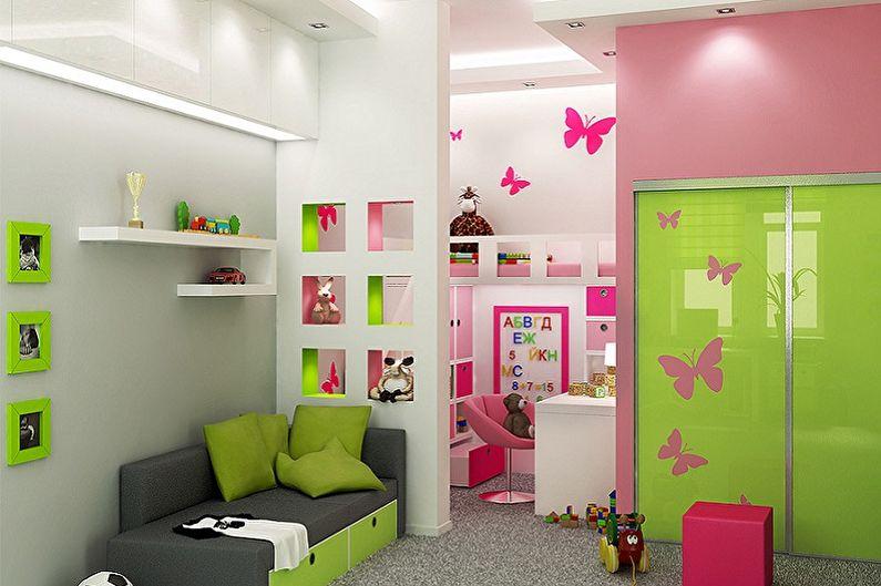 Дизайн детской комнаты для мальчика и девочки - Зонирование