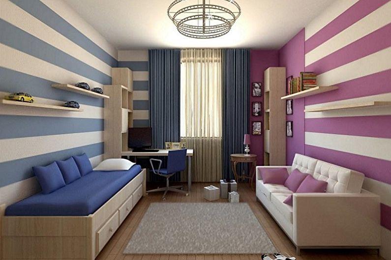 Дизайн детской комнаты для мальчика и девочки - Отделка стен