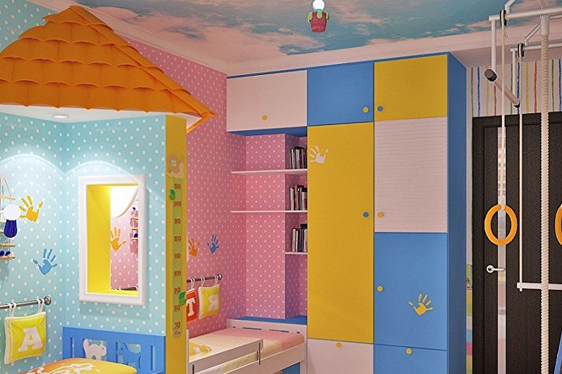 Дизайн детской комнаты для мальчика и девочки - Отделка потолка