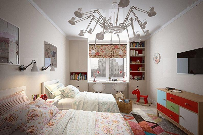 Дизайн детской комнаты для мальчика и девочки - Освещение и декор
