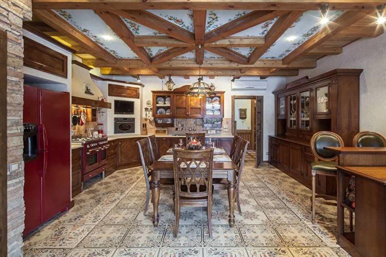 Коричневая кухня в стиле кантри - дизайн интерьера