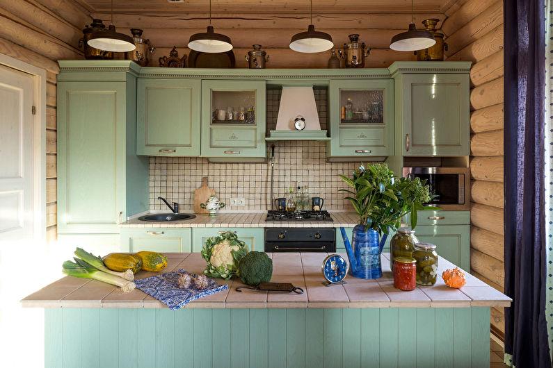 Зеленая кухня в стиле кантри - дизайн интерьера