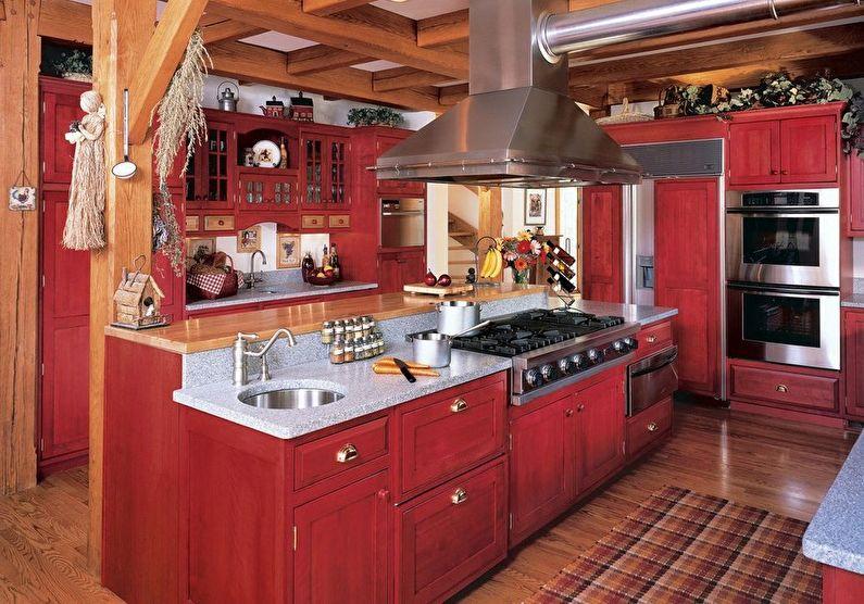 Красная кухня в стиле кантри - дизайн интерьера