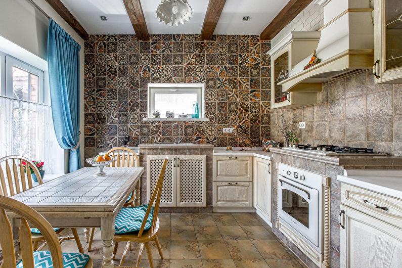 Кухня в стиле кантри - дизайн и отделка стен