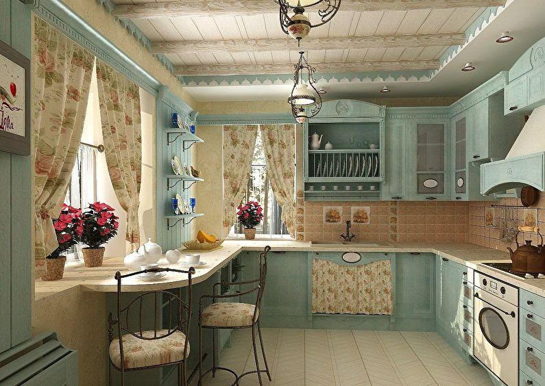 Кухня в стиле кантри - дизайн и отделка потолка