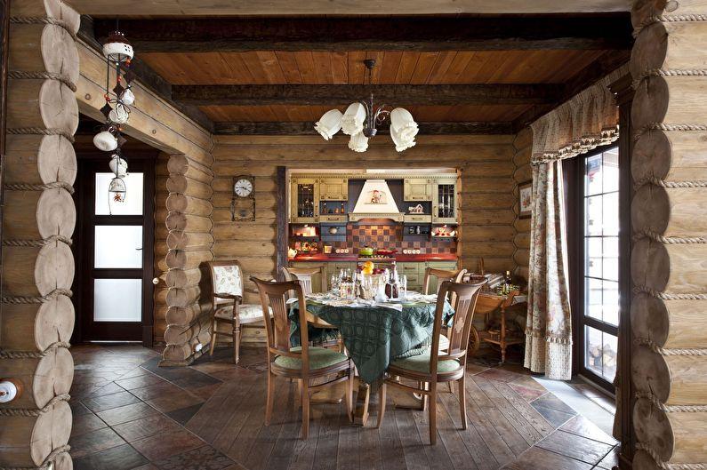 Дизайн кухни в стиле кантри - обеденная зона