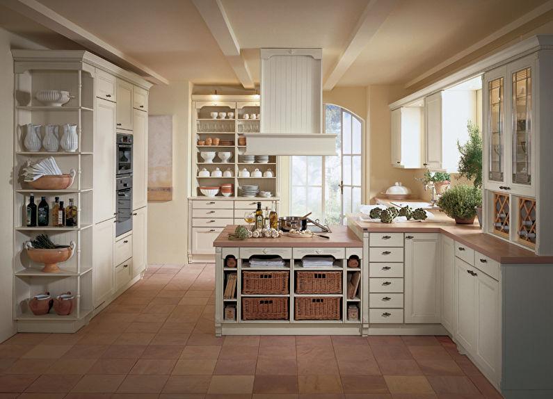 Дизайн кухни в стиле кантри - системы хранения
