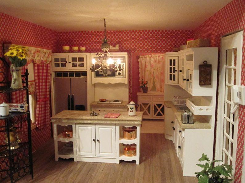 Дизайн маленькой кухни в стиле кантри - фото