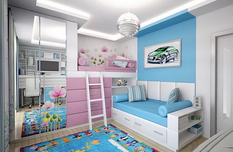 дизайн детской комнаты для разнополых детей 52 фото идеи интерьеров