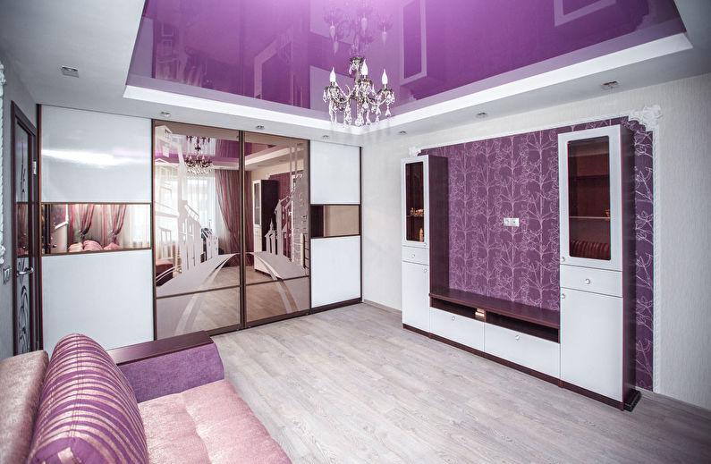 Зеркальные поверхности - Дизайн гостиной в хрущевке
