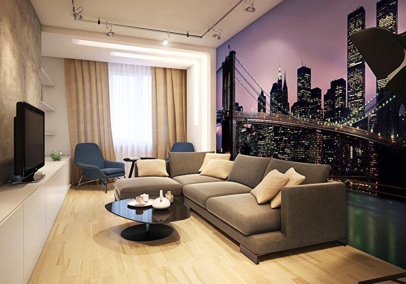Фотообои - Дизайн гостиной в хрущевке