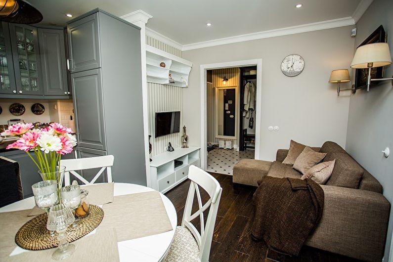 Дизайн интерьера гостиной в хрущевке - классический стиль