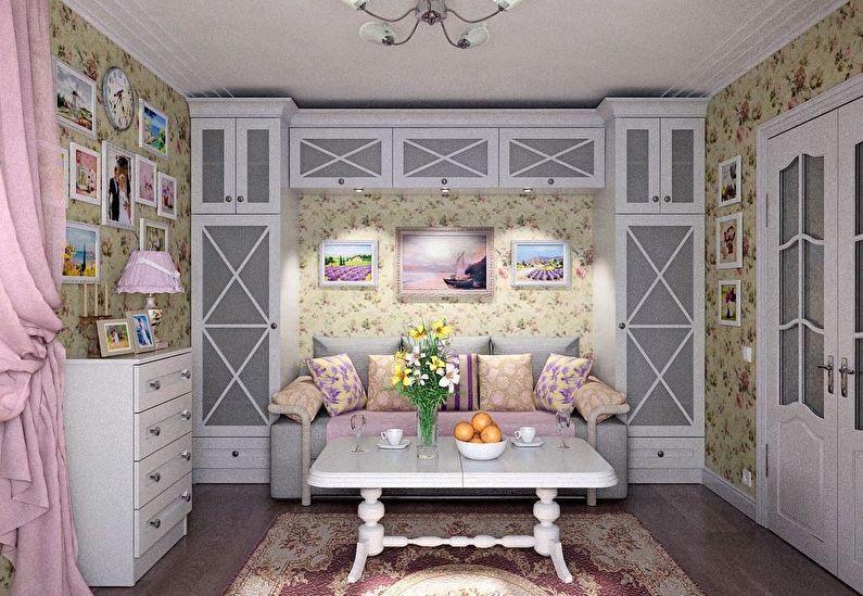 Дизайн интерьера гостиной в хрущевке - прованс