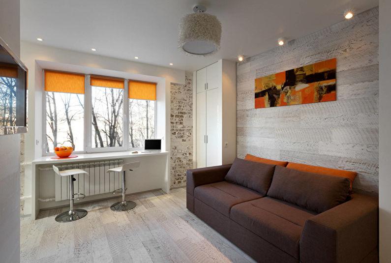 Дизайн интерьера гостиной в хрущевке - лофт, минимализм