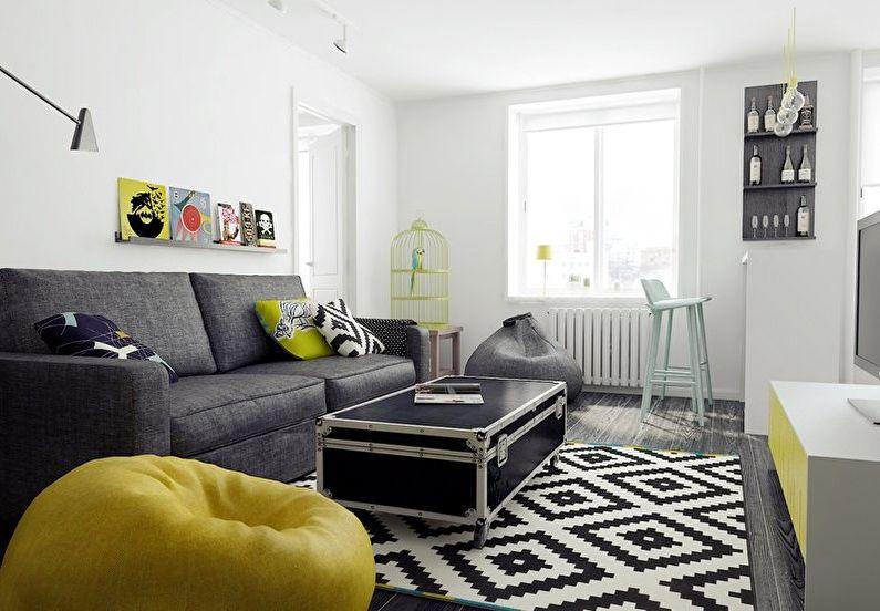 Дизайн интерьера гостиной в хрущевке - скандинавский стиль