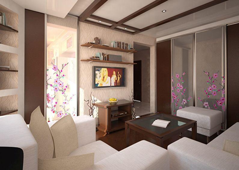 Дизайн интерьера гостиной в хрущевке - японский стиль
