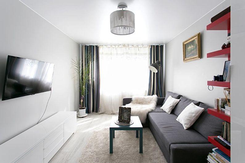 Белая гостиная в хрущевке - дизайн интерьера