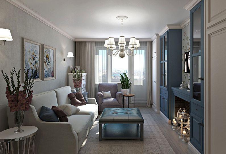 Синяя гостиная в хрущевке - дизайн интерьера