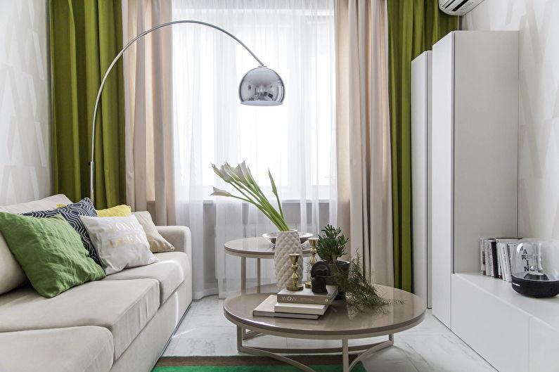 Зеленая гостиная в хрущевке - дизайн интерьера