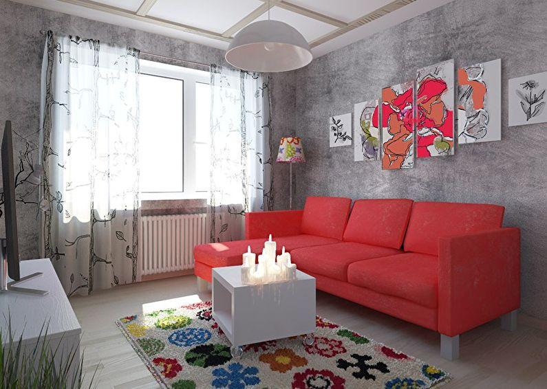Красная гостиная в хрущевке - дизайн интерьера