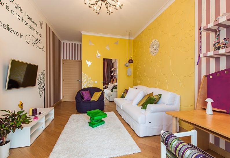 Желтая гостиная в хрущевке - дизайн интерьера