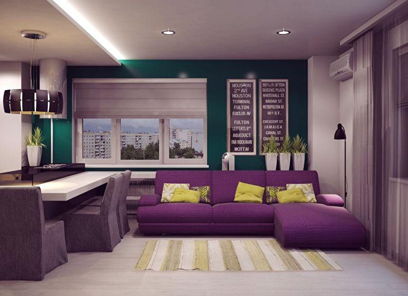 Фиолетовая гостиная в хрущевке - дизайн интерьера