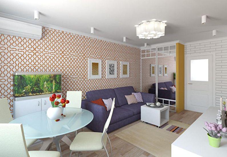 Оранжевая гостиная в хрущевке - дизайн интерьера