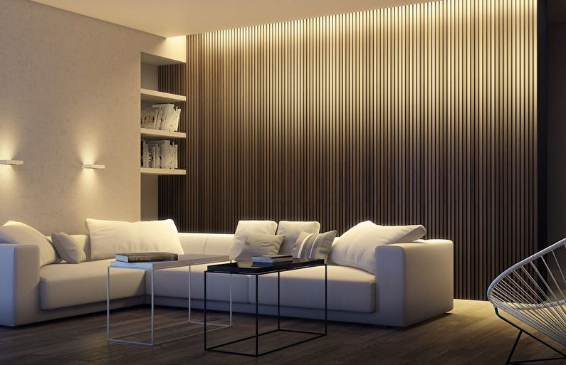 Вертикальные линии в дизайне гостиной в хрущевке