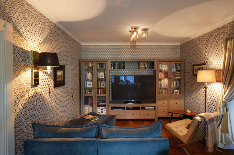 Правильное освещение - дизайн гостиной в хрущевке
