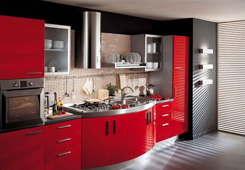 Красная кухня в стиле модерн - дизайн интерьера