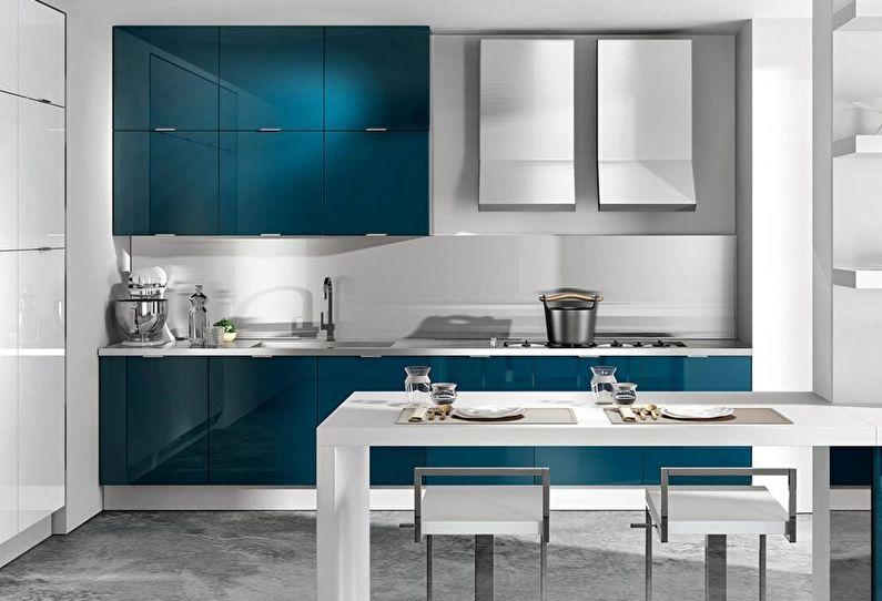 Синяя кухня в стиле модерн - дизайн интерьера