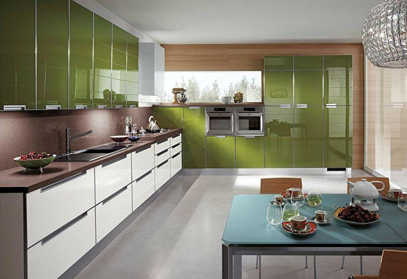 Зеленая кухня в стиле модерн - дизайн интерьера