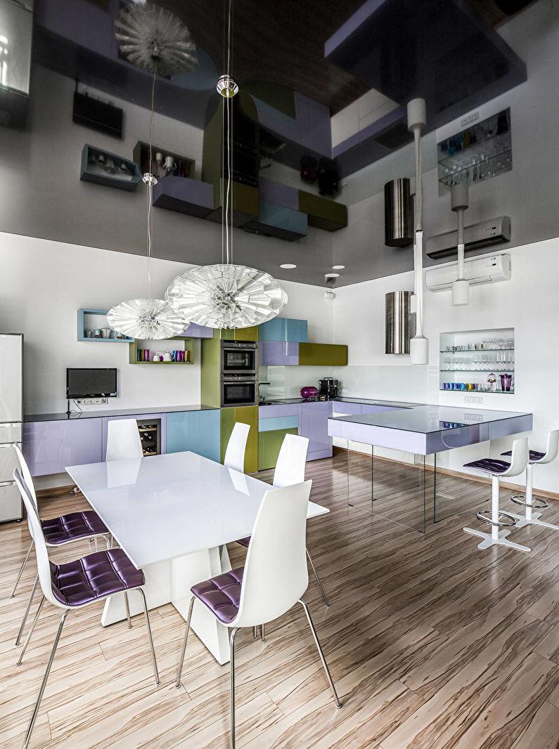 Кухня в стиле модерн - дизайн потолка