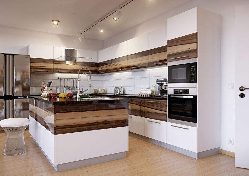 Дизайн кухни в стиле модерн - кухонный гарнитур
