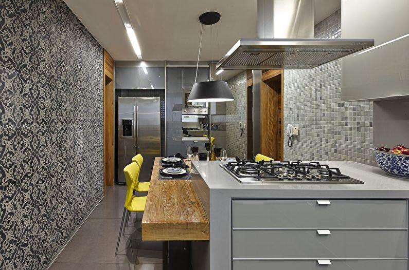 Дизайн кухни в стиле модерн - холодильник