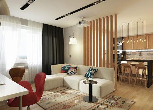 Wood&Stone: Проект однокомнатной квартиры