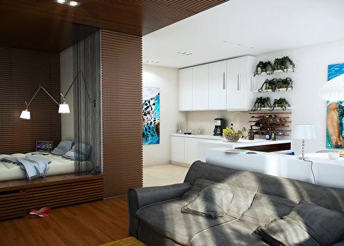 «Морская тема»: Проект небольшой квартиры, 60 м2