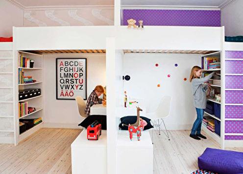 Дизайн детской для разнополых детей (52 фото)
