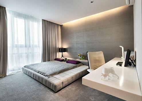 Интерьер спальни в стиле минимализм, 19 кв.м.