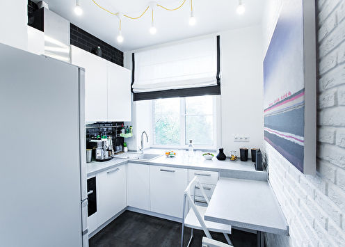 Кухня в скандинавском стиле, 7 м2