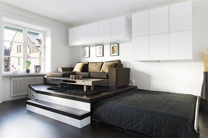 Дизайн однокомнатной квартиры 30 кв.м. - Подиум